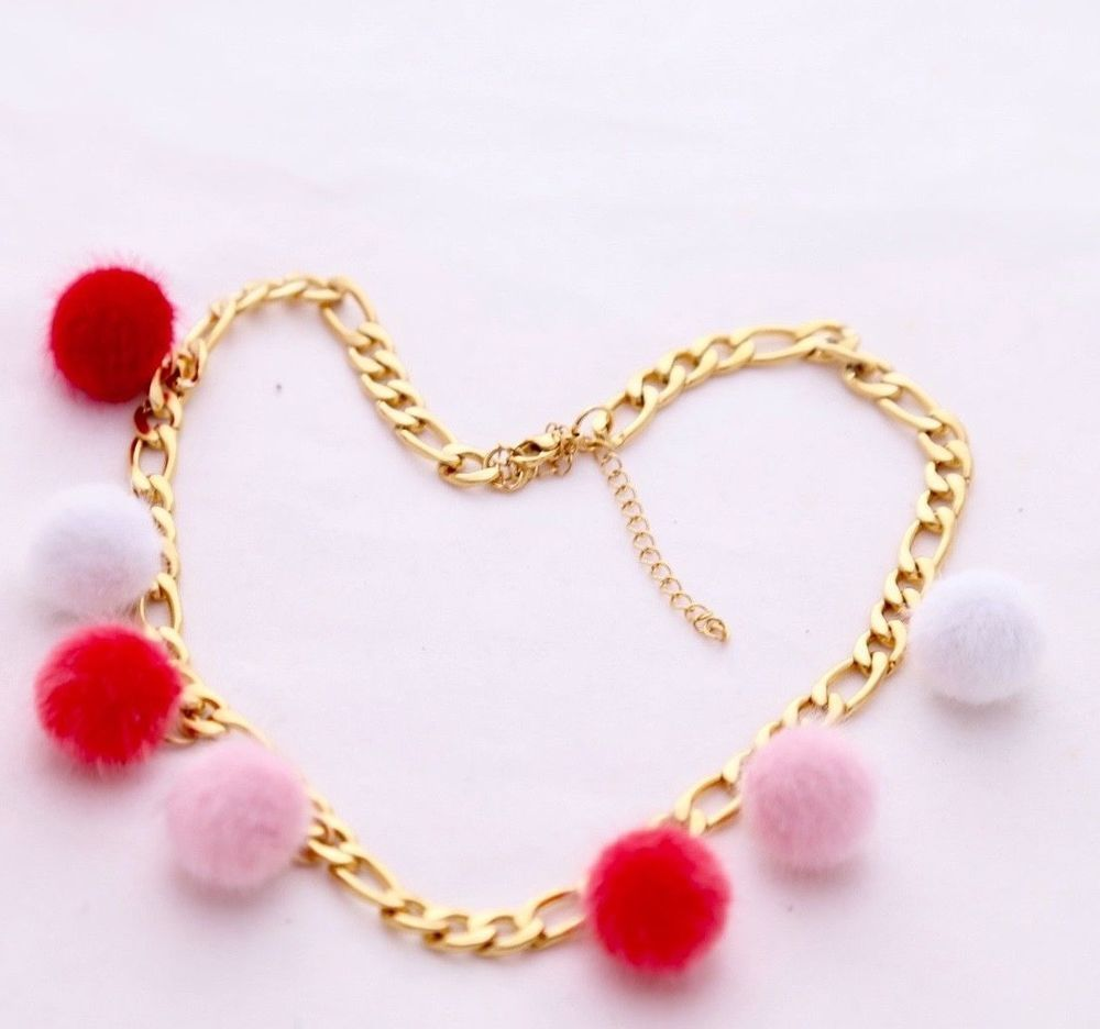 Winter accessories jewelry handmade color pom pom gold chain