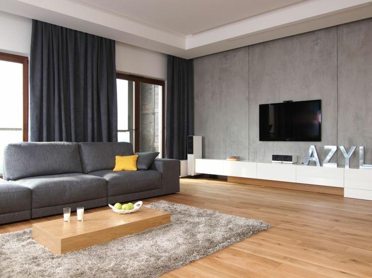 minimalistische fernsehwand gestaltung mit wei en lowboard und beton wand minimalis for home. Black Bedroom Furniture Sets. Home Design Ideas