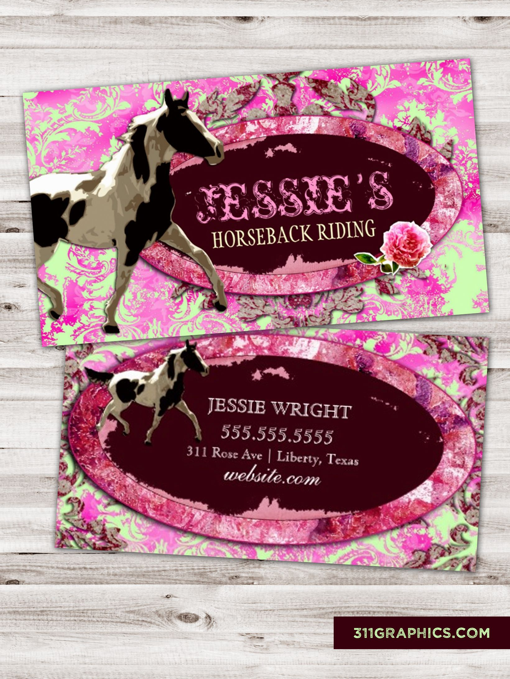 horse business cards funky chic funky junker trashers junkers