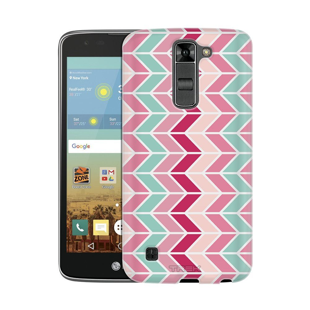 LG K8 Chevron Vertical Mauve Teal Pink Slim Case