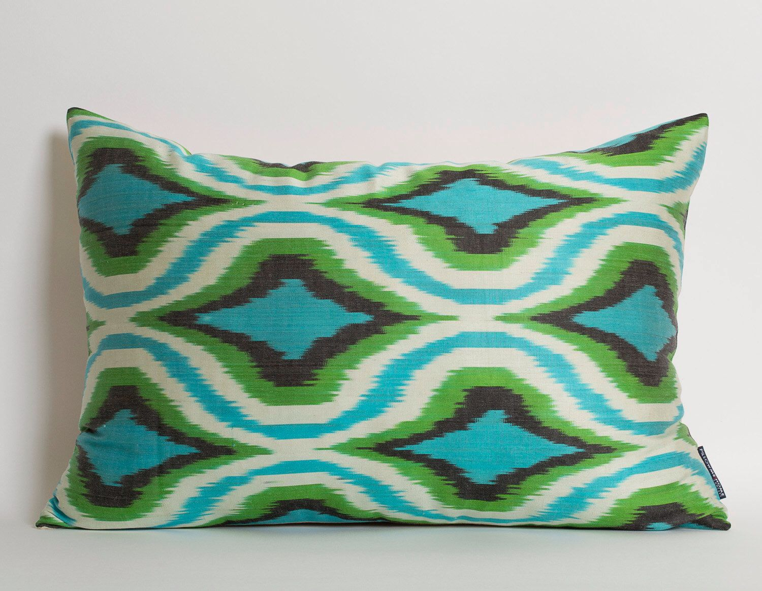 Green turquoise blue white silk ikat pillow cover decorative throw