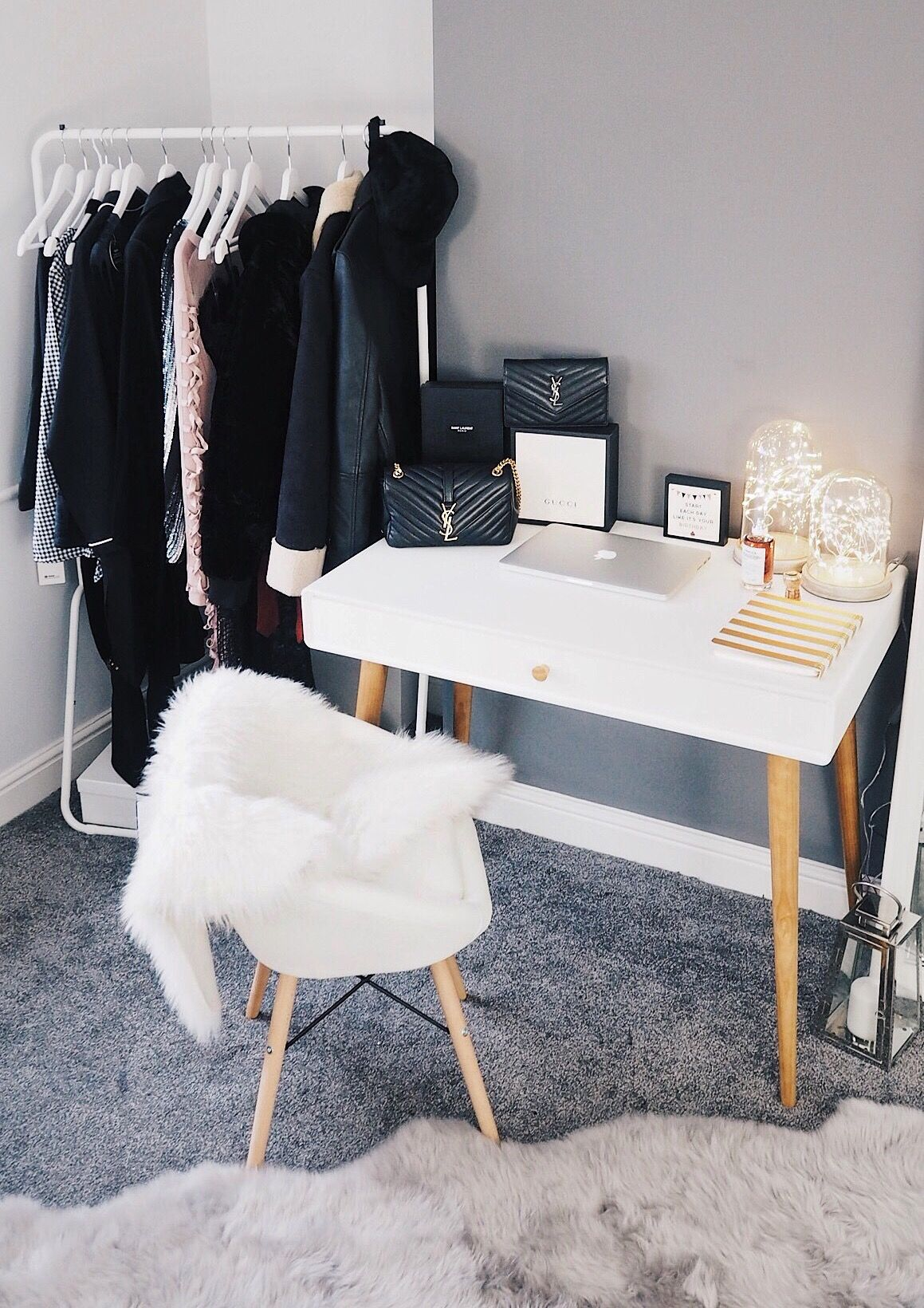 blogger office space with la redoute desk sheepskin rug on chair clothes rail and saint. Black Bedroom Furniture Sets. Home Design Ideas