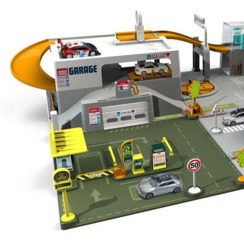 garage clip city 6 plaques avec une voiture norev pour enfant de 3 ans 8 ans oxybul veil et. Black Bedroom Furniture Sets. Home Design Ideas
