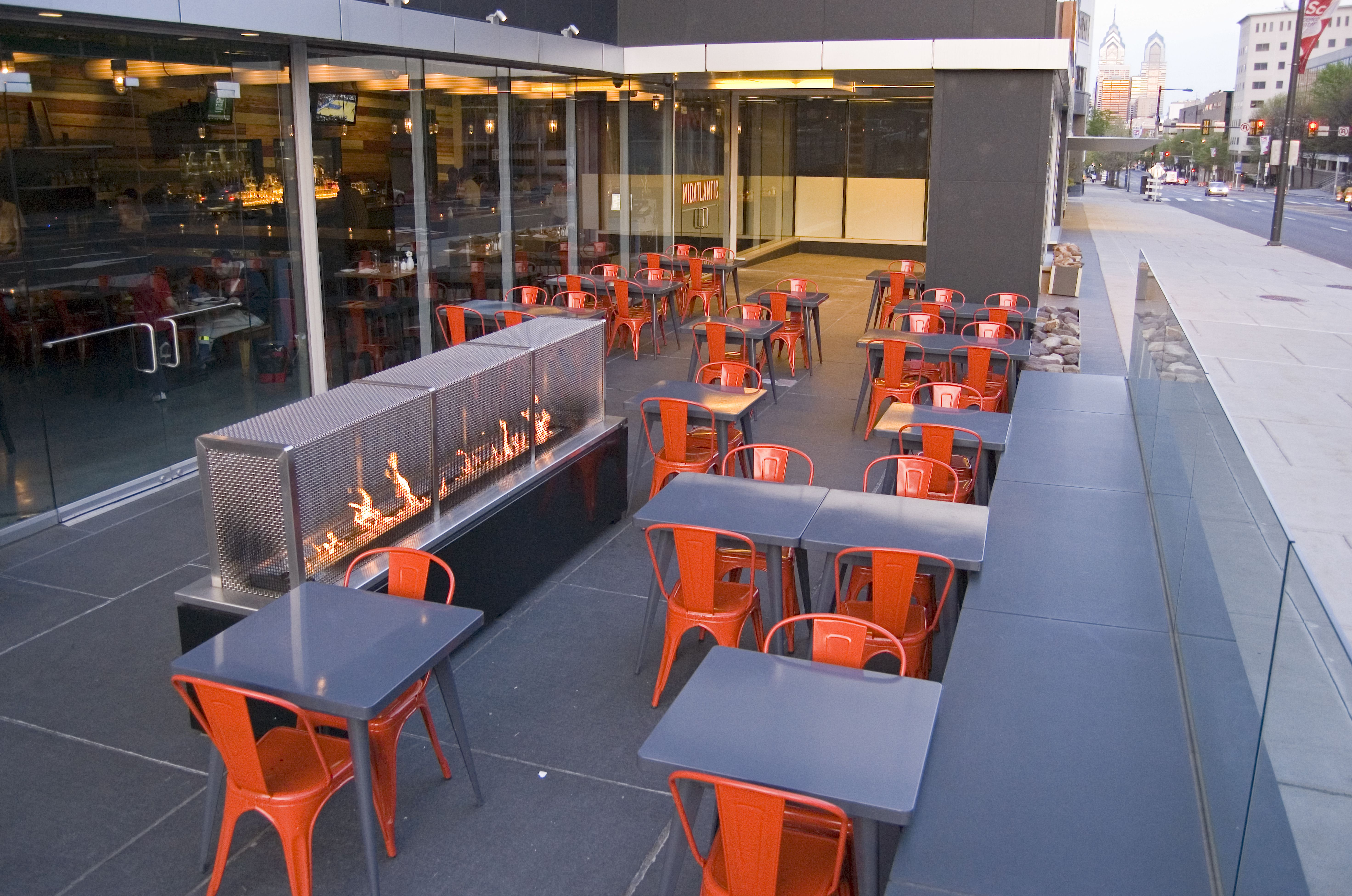 Restaurant patio design  pop of color in the chairs | Design | restaurant patios | Pinterest