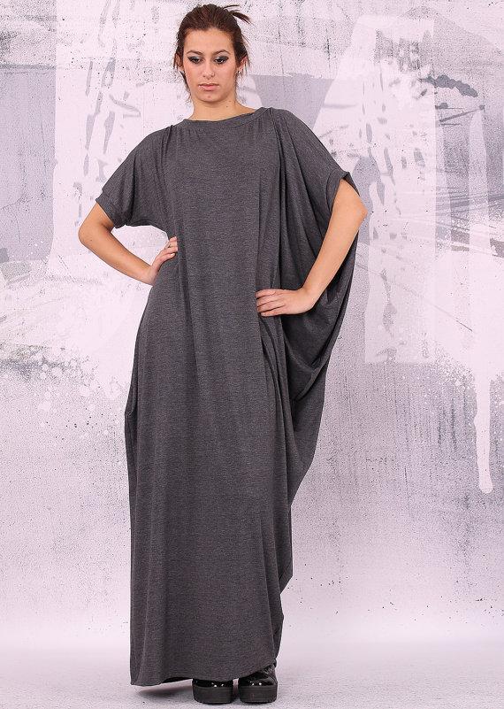 Gray dress extravagant dress loose long dress asymmetrical dress