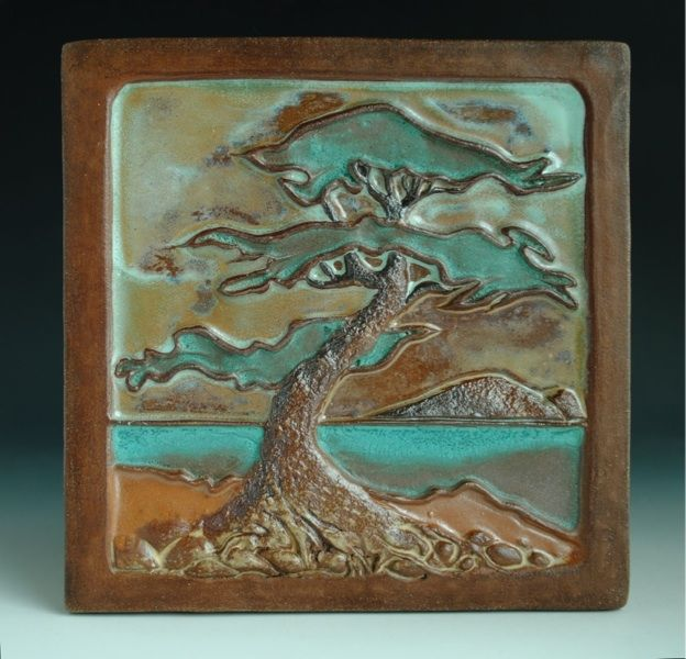 Arts and Crafts Style Tile Relief Lone Pine Landscape; craftsman bungalow