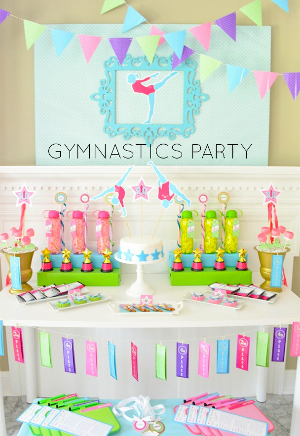 inspiration ideas for 9 year old birthday party at home. Throw an at home Gymnastics Party or spruce up the local gymnastics center  using Anders Ruff Ideas Printables a 10 0 Birthday