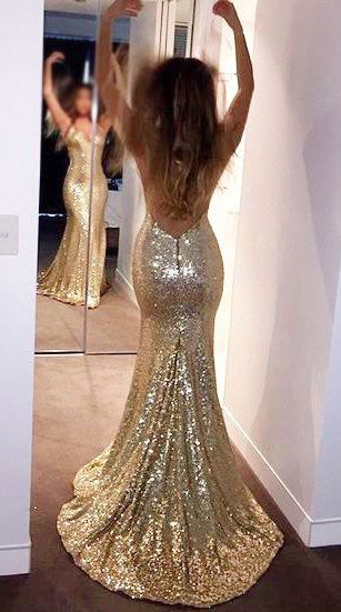 a719c035abd Sparkly Mermaid V-Neck Open Back Gold Sequin Prom Dress in 2019 ...
