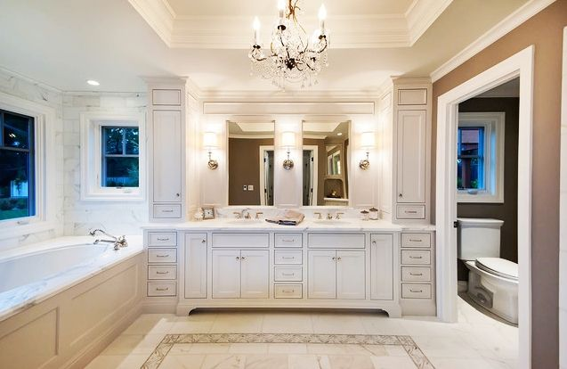 Bathroom, Beautiful Master Bathroom Floor Plans Idea With Double Vanity Installed On Center Wall Between Toilet And Tub: Magnificent Master Bathroom Remodeling Design Ideas With Fantastic Floor Plans