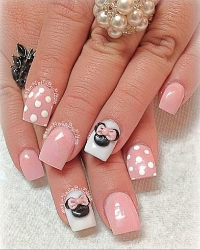 minnie mouse nail art valleybabe