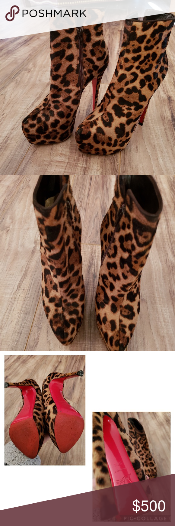 caae51797563b Christian Louboutin Daf Booty 160 Leopard Pony Ankle Boots 37.5 Made in  Italy Easy to walk