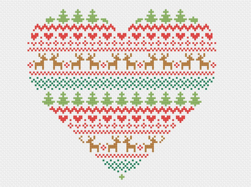 Fair Isle Christmas Heart - Modern Cross Stitch Pattern by ...