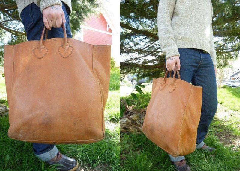 Pleasing Rare Vintage 40S L L Bean Leather Field Tote Shopper Bag Inzonedesignstudio Interior Chair Design Inzonedesignstudiocom