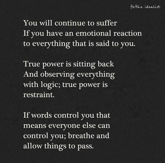 As I've always thought - I need to shut off my emotions if I am going to survive.