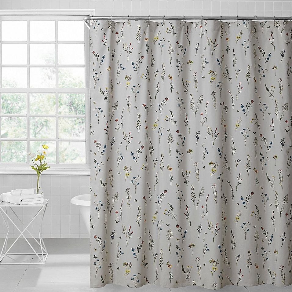 Sophie Floral 72 Inch X 96 Inch Shower Curtain In Light Grey Floral Shower Curtains Floral Shower Curtains