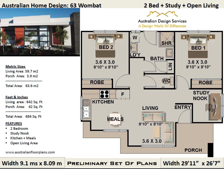 63.6 WombatModern 2 Bedroom House Plan63.6 m2