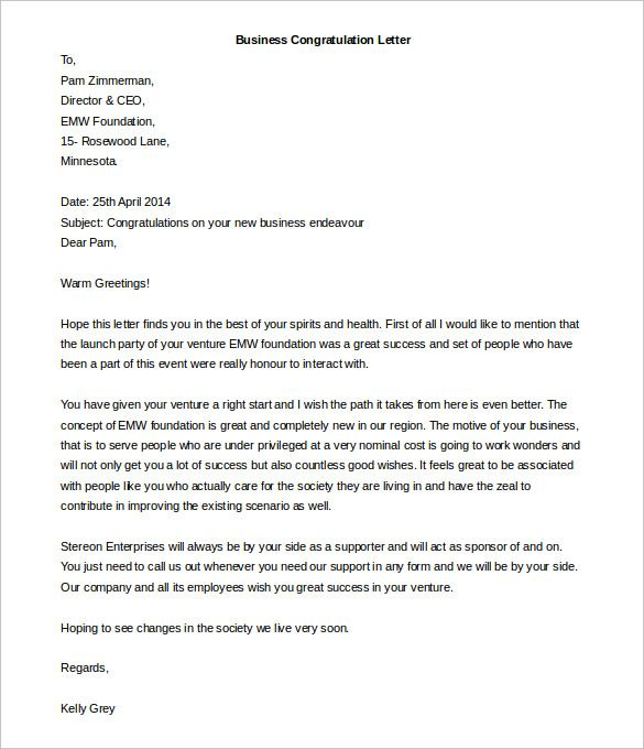Free Editable Business Congratulation Thankyou Letter Template Pdf