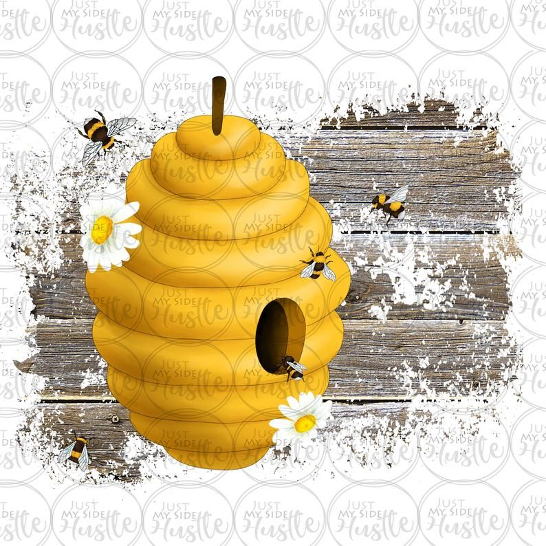 Honey Bee Hive Daisy Sublimation Design Summertime Yellow Png Etsy Bee Cards Honey Bee Hives Bee Hive