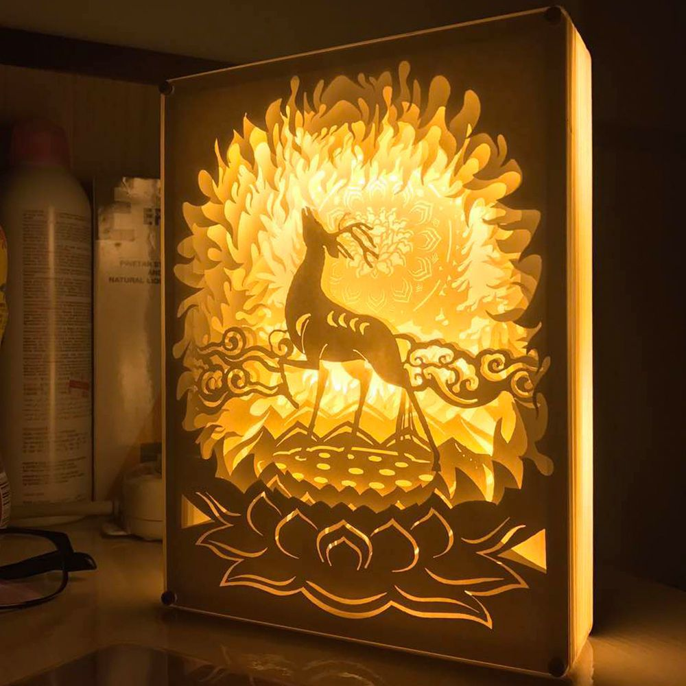 3d Deer Papercut Light Boxes Shadow Box Led Light Night Lamp Paintings Deer Paper Carving 3d Paper Art Shadow Box