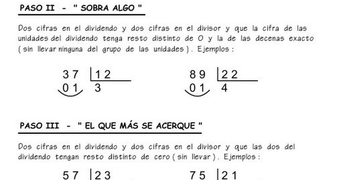 Como Dividir Por Tres Cifras Paso A Paso Metodo Division Por 2 Cifras Pdf Area De Matematicas