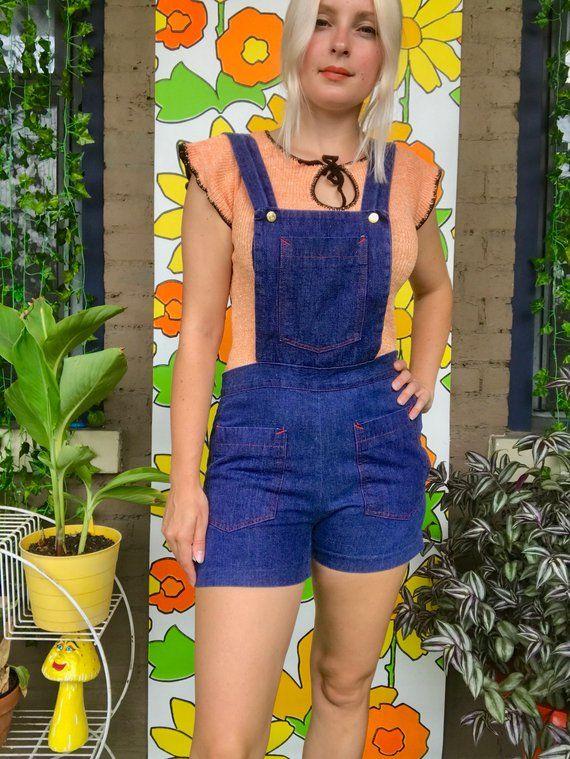 816c46cde4 Vintage 1970s overall shorts 60s 70s denim bib overall shorts pinafore shorts  retro 1960s jumper jum
