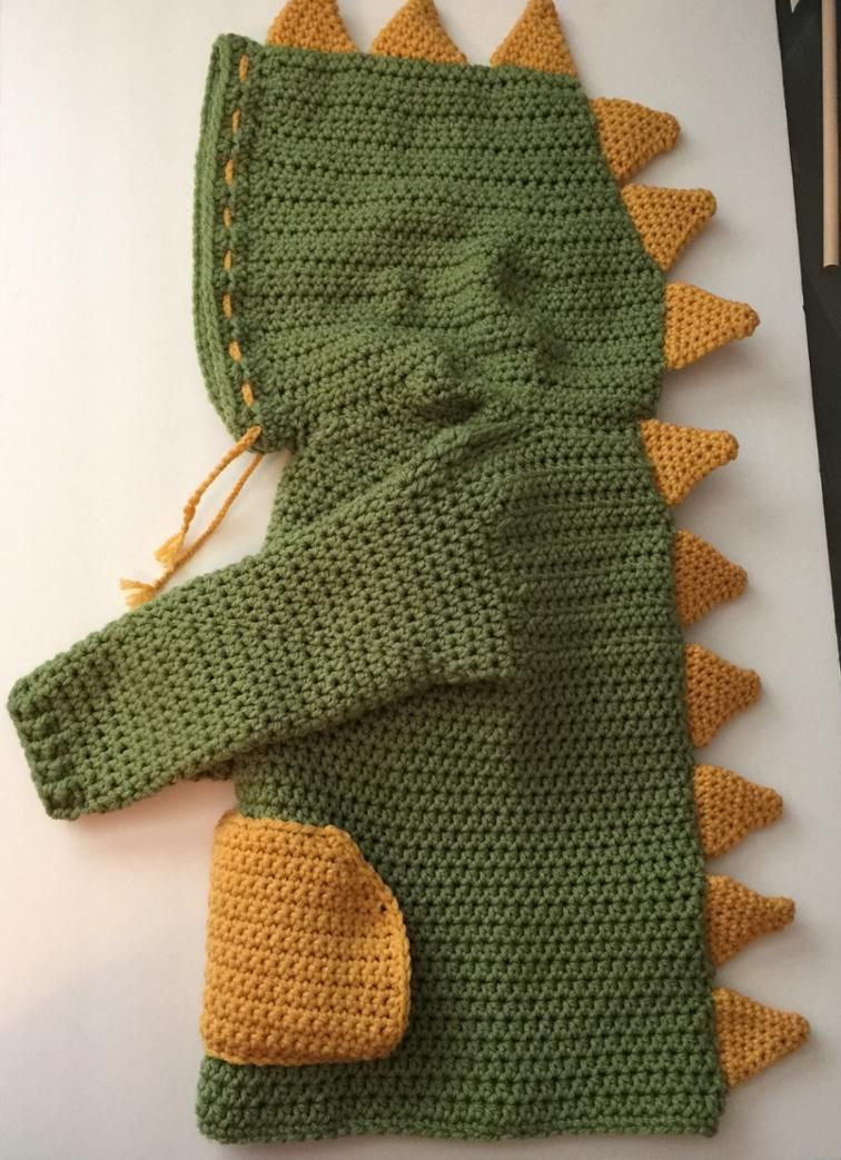 3T/4T Dino/ Dinosaur Hooded Sweater with Spikes | Crazy for Crochet ...