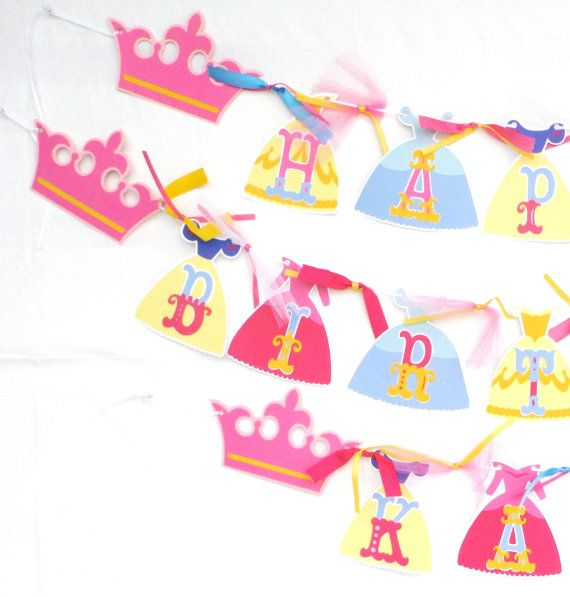 Disney Princess Dress Themed Happy Birthday Banner Party Decoration