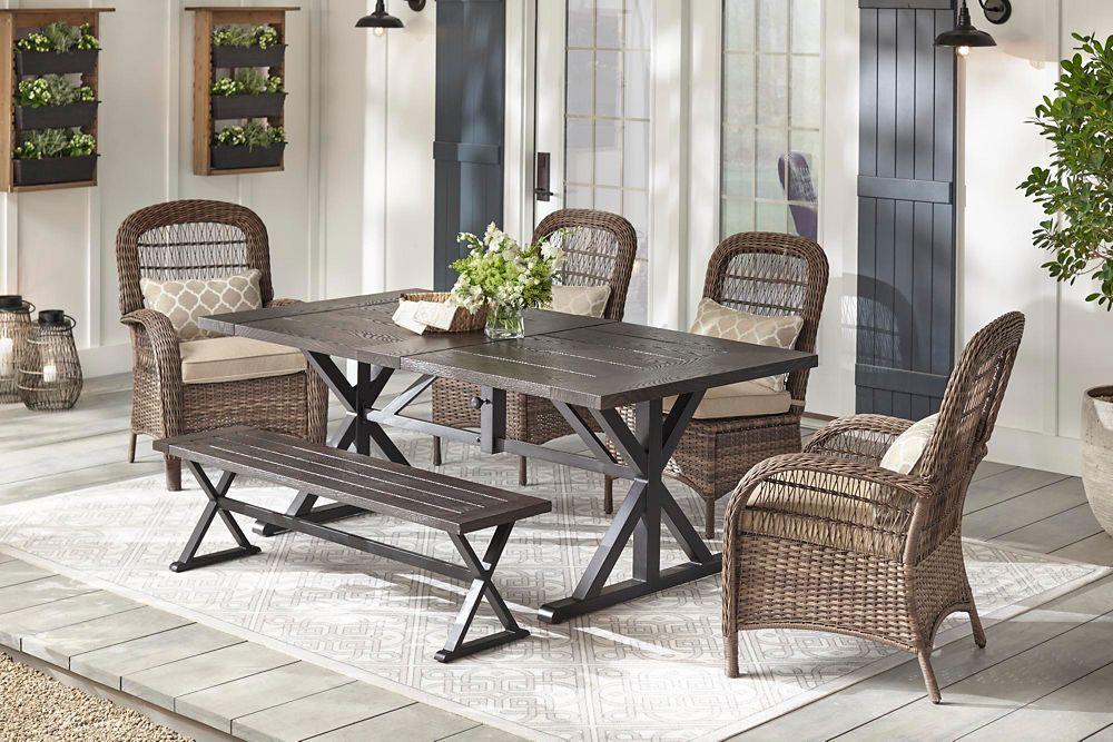 Brown Wicker Outdoor Dining Set