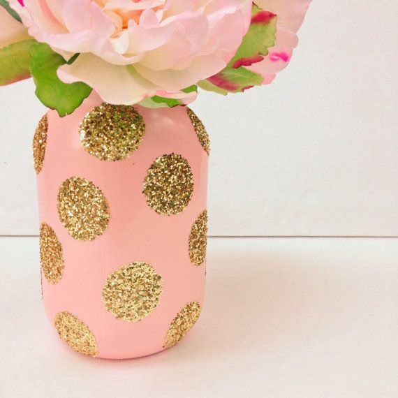 soft pink mason jar adorned with gold glitter will add