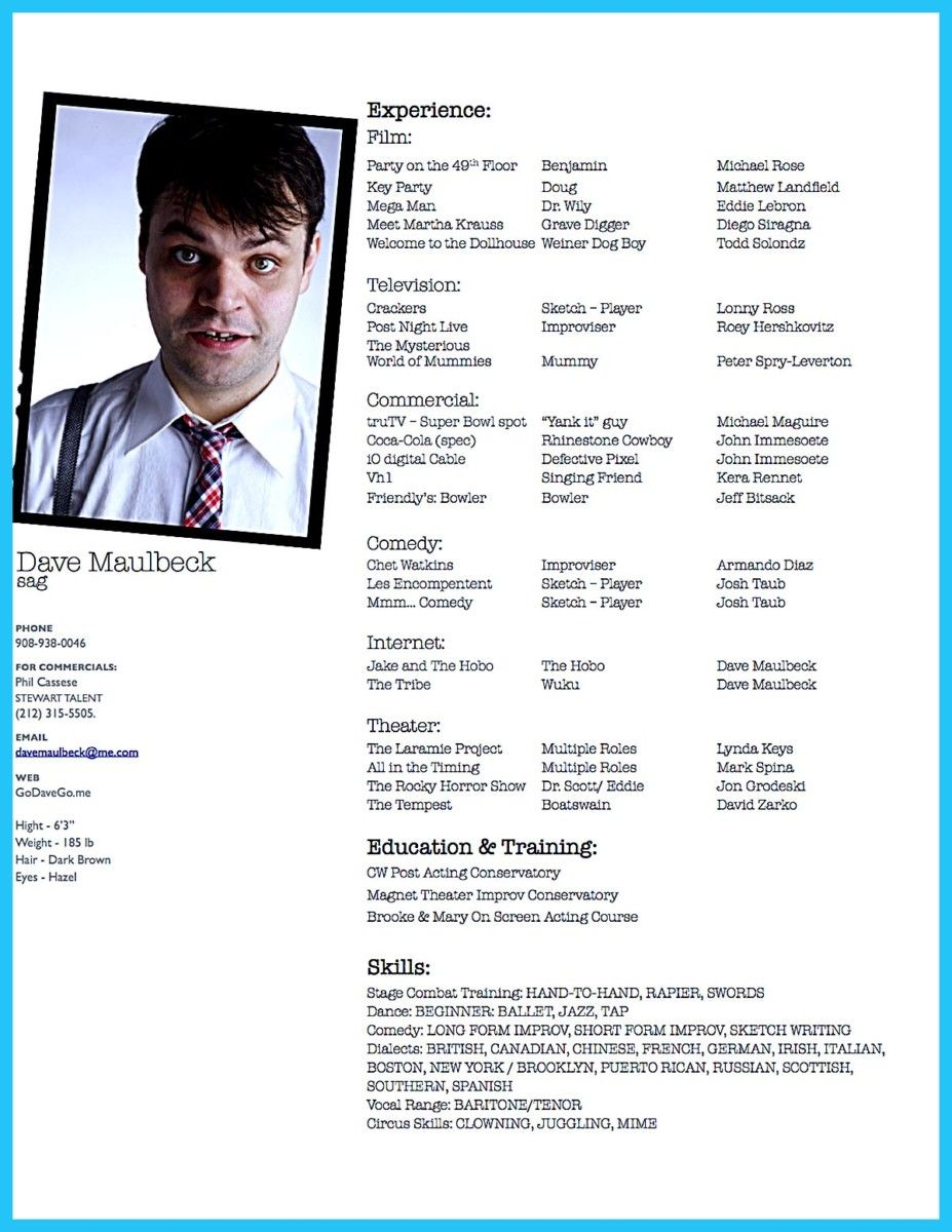nice Actor Resume Template to Boost Your Career, Check more at http ...