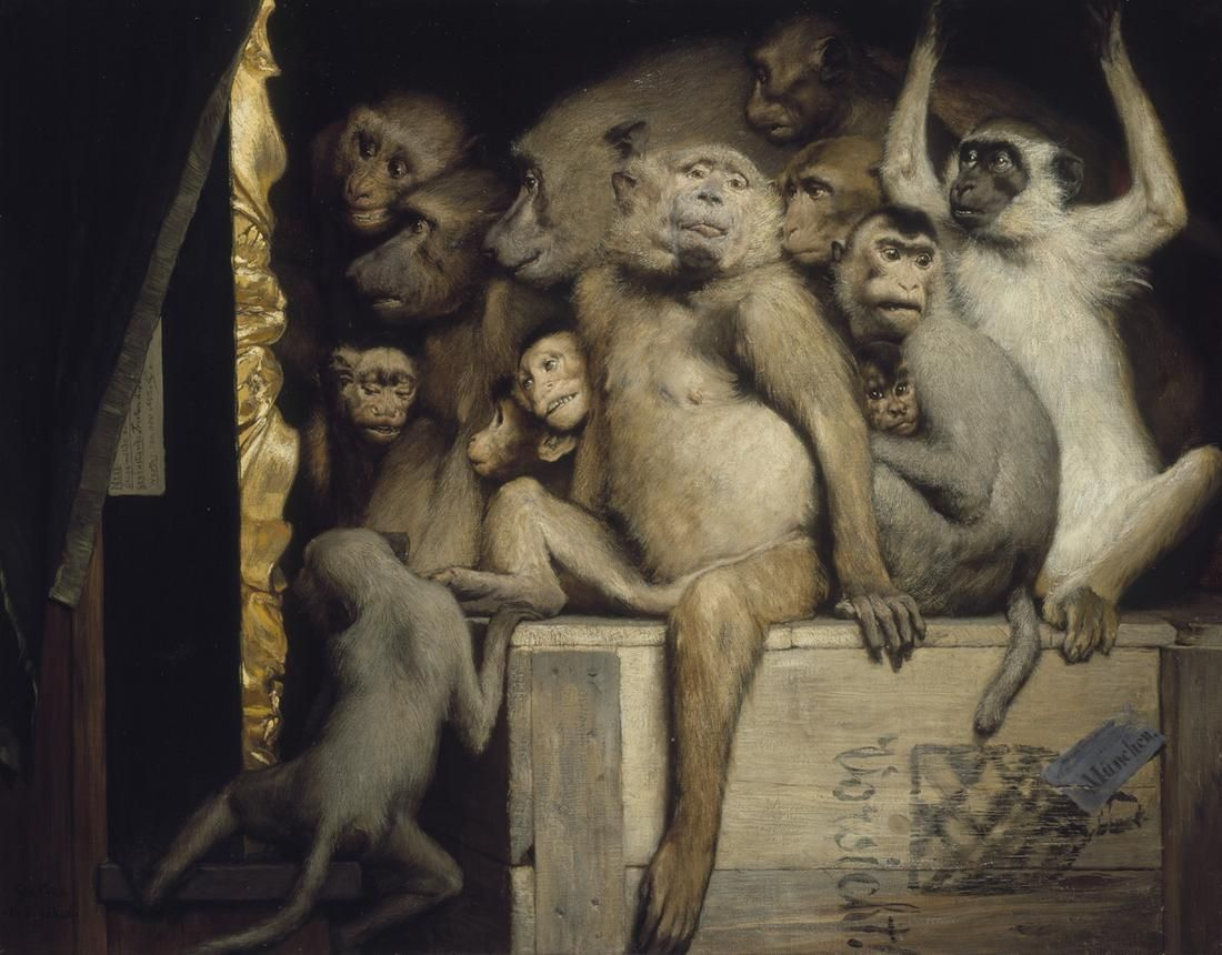 monkeys as judges of art 1889 oil on canvas 84 5 x 107 5 cm i