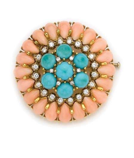 Turquoise, Angel Skin Coral and Diamond Brooch  18 kt., 26 diamonds ap. .90 ct., ap. 14.5 dwt.
