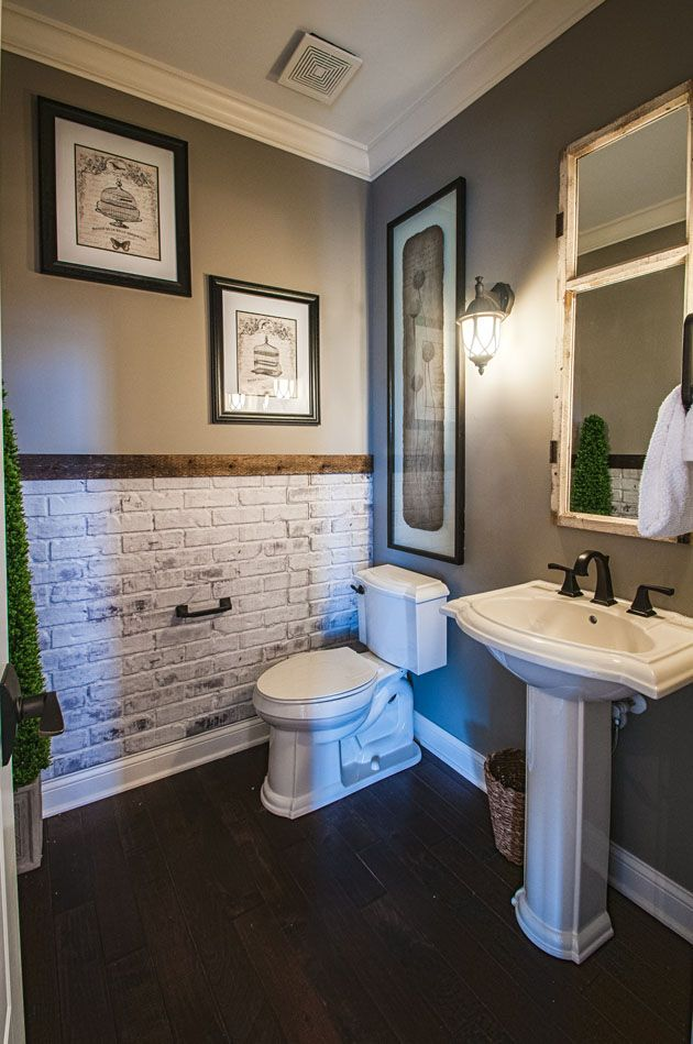 Exposed brick accent accent wall with exposed brick for Gray bathroom wallpaper