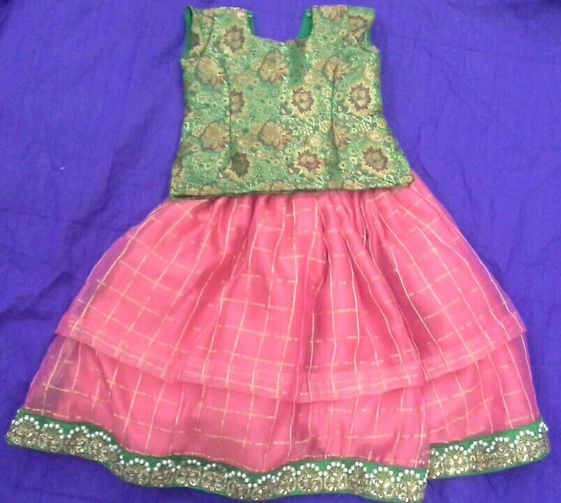 d8bfa078eb374b Organza checks skirt with banaras blouse Kids Lehenga