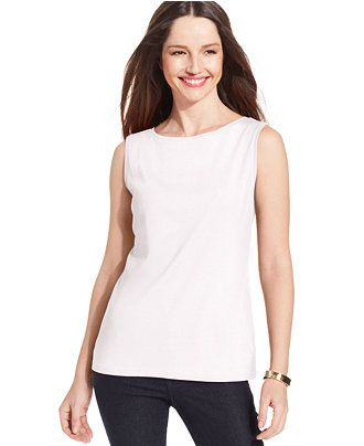 766f1ec178646a Karen Scott Sleeveless Boat-Neck Tank Top - Tops - Women - Macy's ...