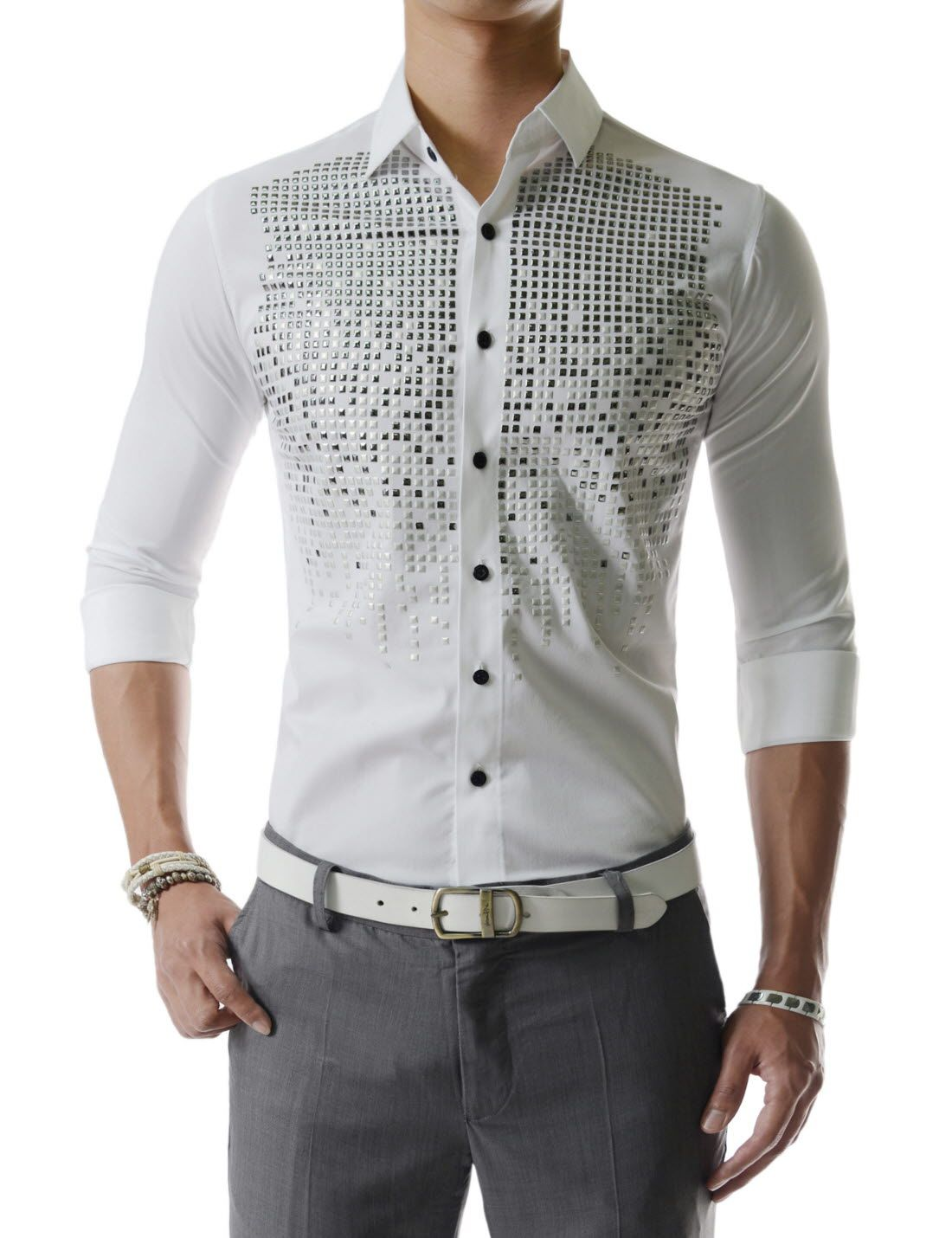 f98fcf3c62f Square Metallic Beads Bling Studs Gems Stretchy Long Sleeve Shirts ...