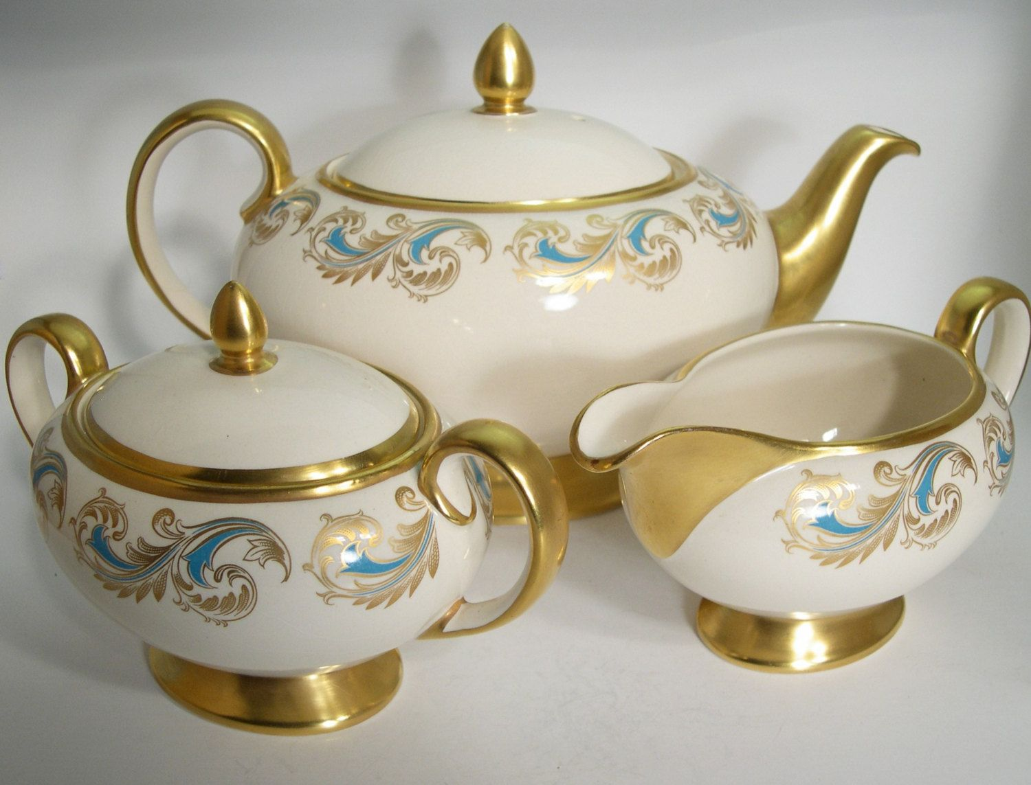 Sugar bowls with lids - Antique Sadler Teapot Set Vintage Teapot With Creamer And Sugar Bowl With Lid Ivory