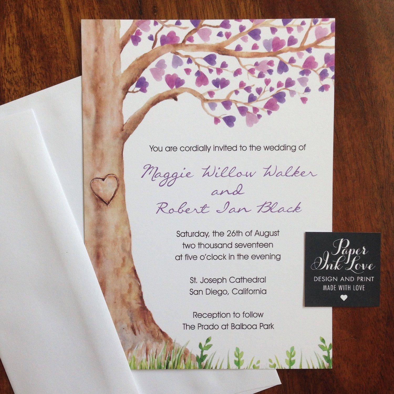 Watercolor wedding invitations by Paper Ink Love