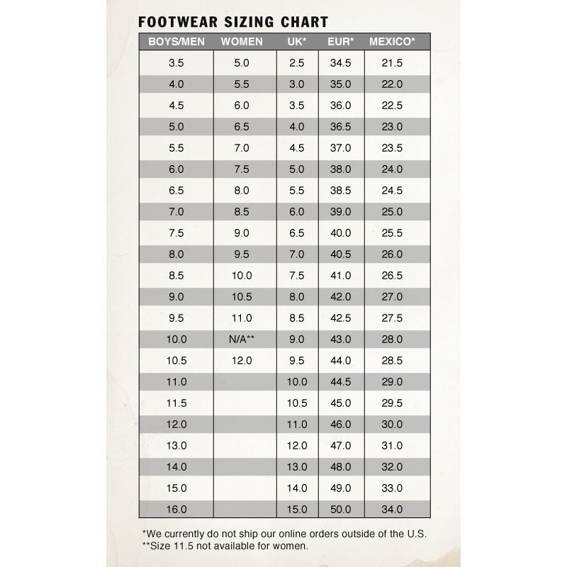 vans men's clothing size chart