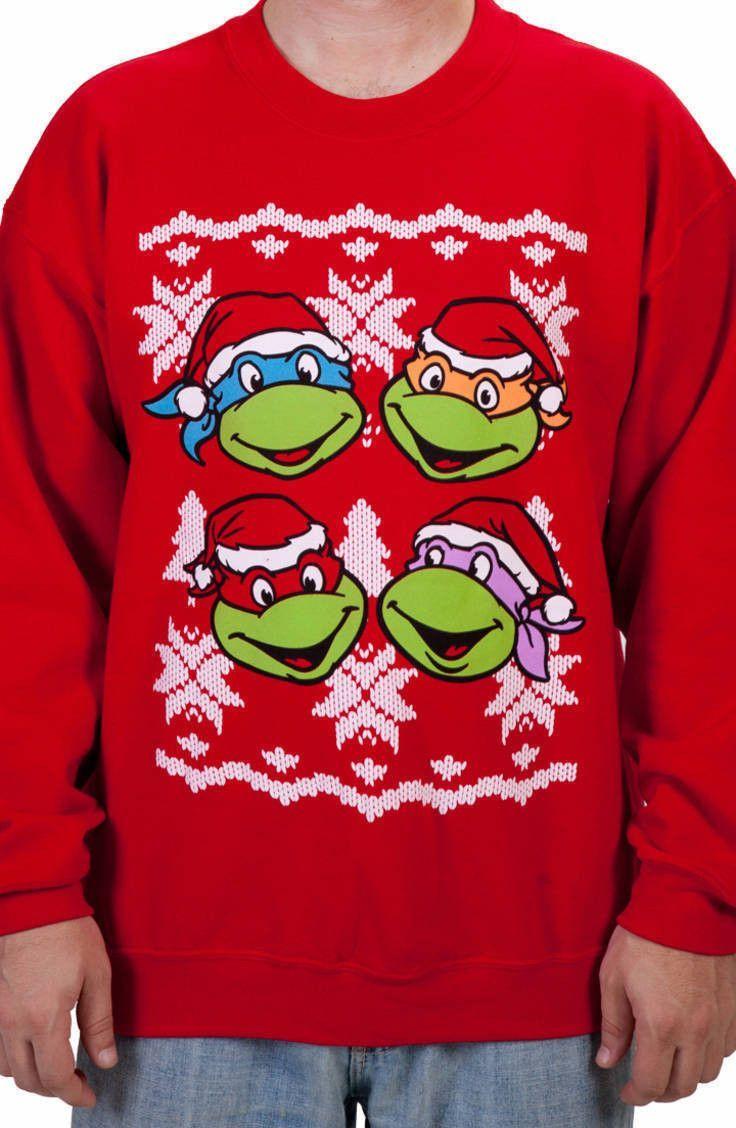 Faces Ninja Turtles Faux Christmas Sweater | Christmas | Pinterest ...