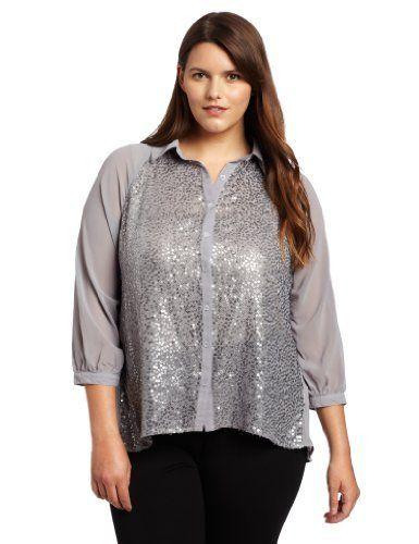 fec53edf5cf Democracy Women s Plus Size Front Bodice Sequins Contrast Button Down  Shirt