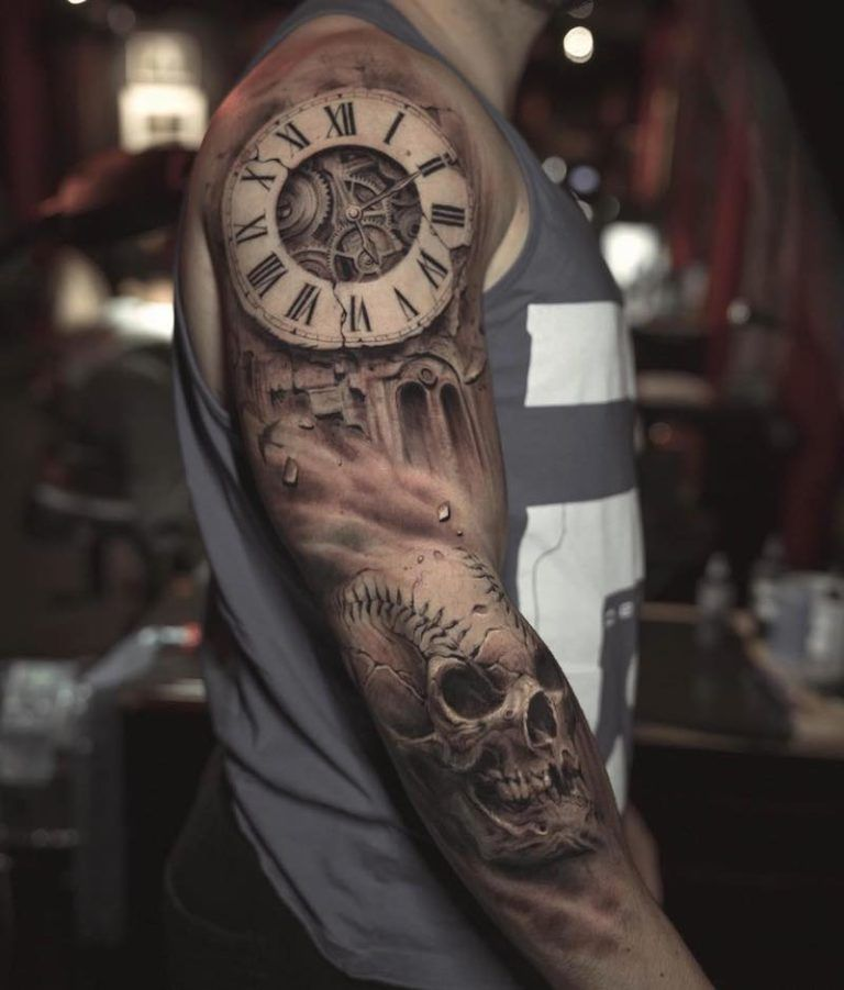 Clock Tattoo Tattoo Insider In 2020 Half Sleeve Tattoos For Guys Tattoo Sleeve Men Full Sleeve Tattoos