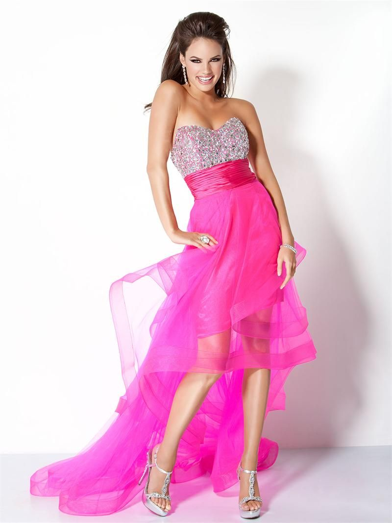 Limitededition jovani np hot pink high low prom dresses
