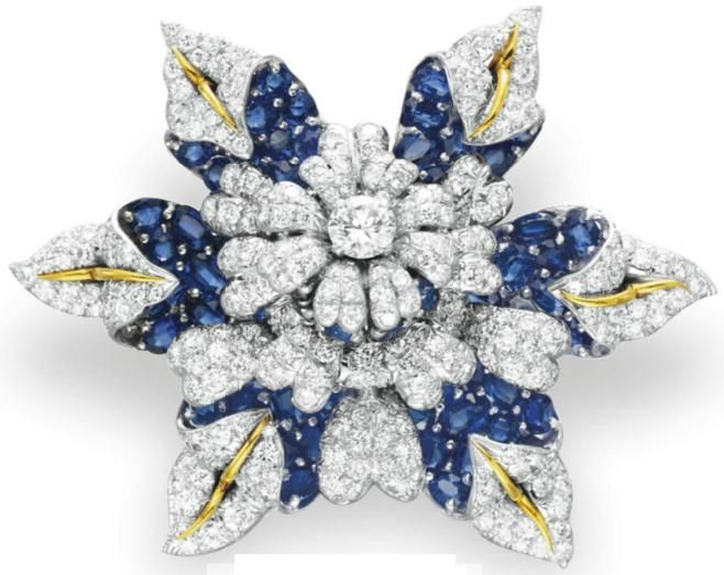 6f01f54de A DIAMOND AND SAPPHIRE BROOCH, BY JEAN SCHLUMBERGER, TIFFANY & CO. circa  1965. Formerly owned by Elizabeth Taylor. Christie's.