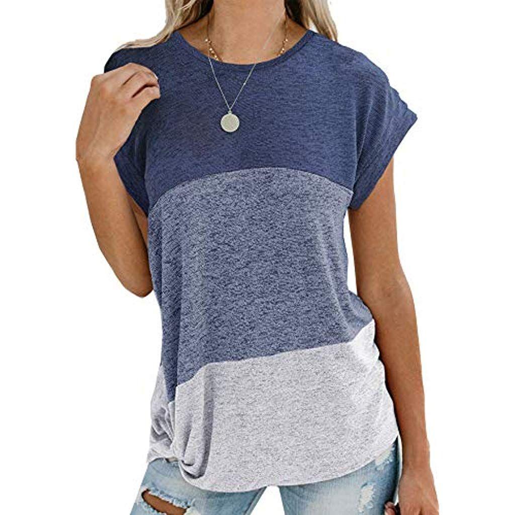 Damen Bluse Sommer Locker Langarm Bluse Tops Casual T-Shirt Patchwork