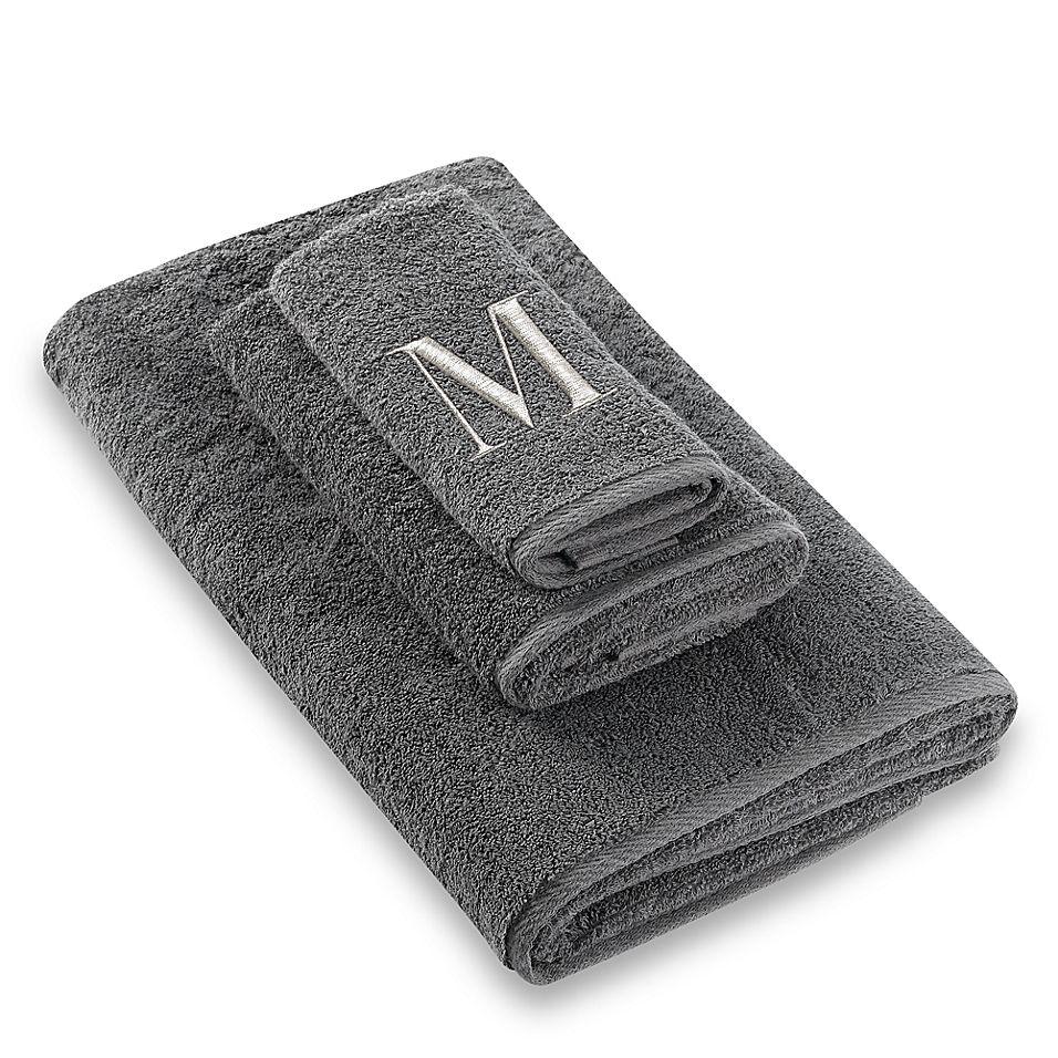 Avanti Premier Silver Block Monogram Letter M Fingertip Towel In