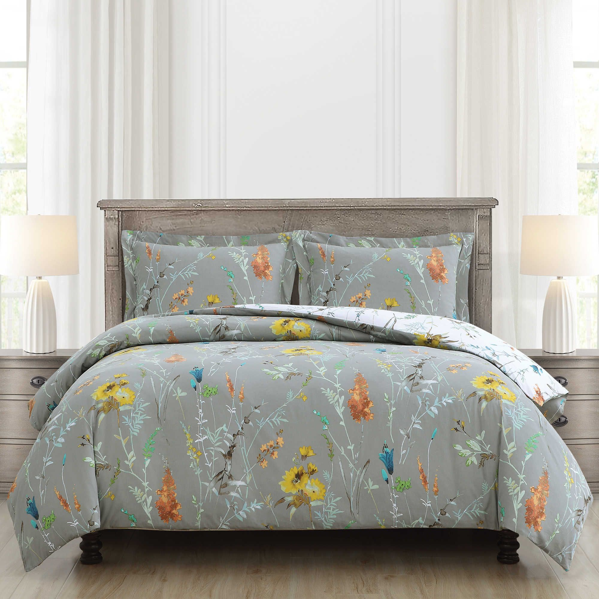 Brigita Floral Reversible Twintwin Xl Comforter Set In Whitegrey