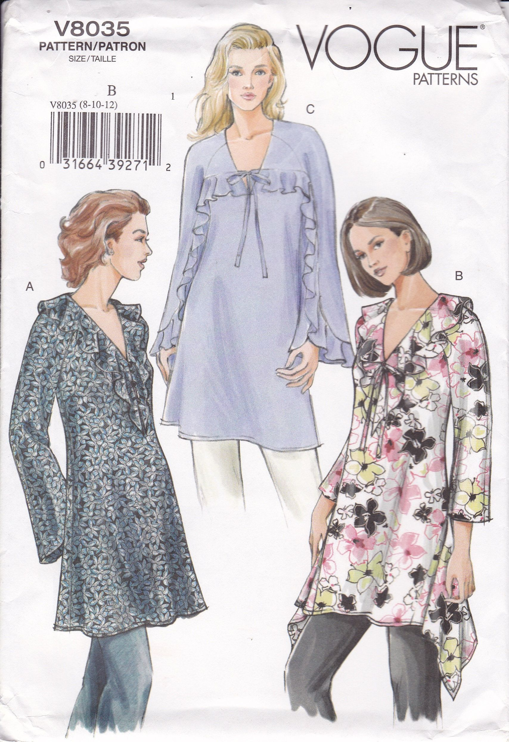 Vogue 8035 Sewing Pattern 2005 UNCUT Tunic Top Godet Flounce Out of Print Misses Size 8 10 12 Bust 31.5 32.5 34 Uncut Women's Sewing Pattern #tunicdesigns
