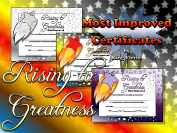 most improved certificates rising to greatness awards stars theme
