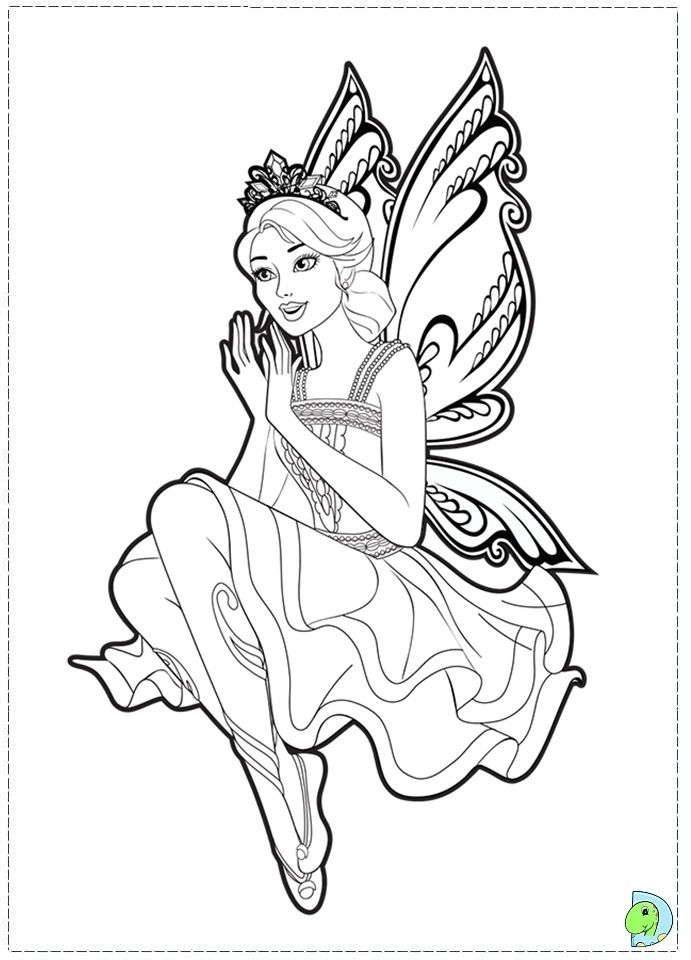 Barbie Fairy Princess Coloring Pages | Princess coloring ...